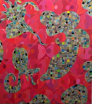 Jelly Fish Love in Greece, Oil on Linen (108x96cm)